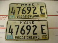 1983 83 1987 87 Maine ME License Plate Vacationland 47692E Pair