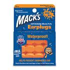 Mack's Waterproof Reusable KIDS Learn to Swim Ear Plugs silicone 6 PAIRS Orange