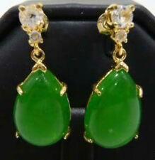 Jewelry Natural Green Jade Dangle & Chandelier Earrings AAA