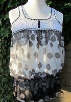 Ladies Pretty Black & White Vest Top With Crochet Detail Size M