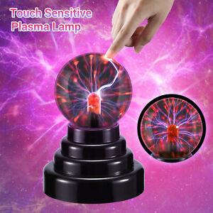 3in Electric USB/Battery Plasma Glass Ball Lamp Touch Magic Globe Night Light UK