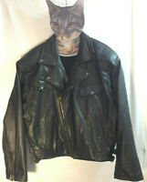 MIRAGE Black Leather Motorcycle Jacket Mens Size L Quilted Insulated Coat New