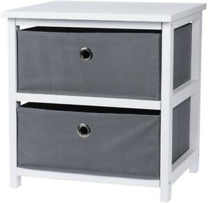 White Wooden Cabinet with 2 Boxes Bedroom Bathroom Shelf Cupboard Storage Unit