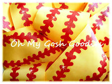 "3"" WAVE RED GLITTER STITCH SOFTBALL BASEBALL GROSGRAIN RIBBON BOW CHEER YELLOW"