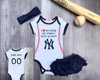 New York Yankees Personalized Girls Bodysuit Romper Shirt Watching With Grandma