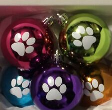 Pet Pawprint Ornaments Dog Cat! Set/5 Shatterproof Christmas Tree Decorations