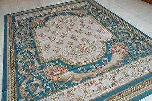 8' X 10' Blue  Finest Natural Pure Silk Hand Woven European Style Aubusson Rug