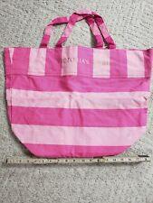 Victoria Secret Tote Bag Handbag Beach Canvas Signature Bag Pink Stripe NWT