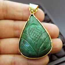 Handmade Designer Natural Carved Emerald Pendant Gold Over 925K Sterling Silver