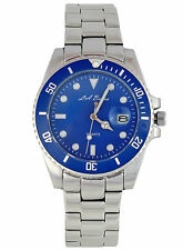 MENS LA BANUS SUBMARINER WATCH STAINLESS STEEL BLUE DIAL HOMAGE AUTOMATIC DATE