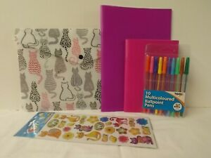 Cat theme stationery gift set - A4 wallet with exercise books, pens & stickers