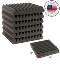 "Acoustic Wedge Studio Soundproofing Foam 12""x12""x2"" Charcoal 6-Teeth (96 Pack)"