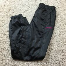Vintage Adidas Trefoil Track Pants Lined Mens Small Black Satin/Hot Pink EUC
