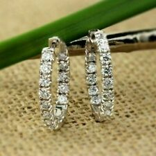 1.15Ct Round Cut VVS1/D Diamond Huggie Hoop Earrings Solid 14K White Gold Finish