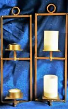 "New Metal Wall Candle Holder for 2 Candles, With or Without Glass Shades 14.25""T"