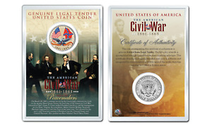 American CIVIL WAR - Flags OFFICIAL JFK Half Dollar U.S. Coin in PREMIUM HOLDER