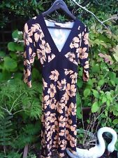 WALLIS ORANGE & BLACK FLORAL 3/4 SLEEVE STRETCH JERSEY DRESS SIZE 12 PETITE