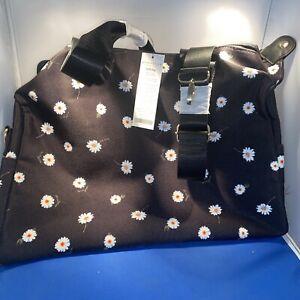 Alice + Olivia Floral Duffel Shoulder Bag FabFitFun Daisy Print Black New w/tags