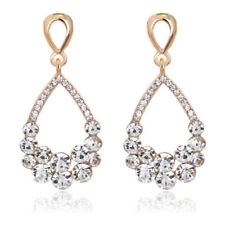Gold White Rhinestones Shiny Pear Designer Women Girl Party Prom Bridal Earrings