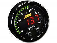 AEM X-Series 8-18V Black Bezel & Faceplate 52mm Volt Gauge P/N: #30-0303