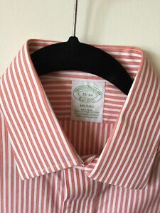 NEW Brooks Brothers Milano Shirt (Size 15-34) Grapefruit Non-iron Supima Spandex