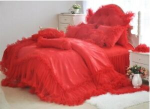 Korean Princess Bedding Set Luxury  Lace Bed Skirt 4pcs Duvet Cover Bed Sheet