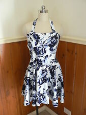 PRE LOVED EMBELLISHED LADIES SIZE 10 NAVY BLUE FLORAL WHITE DRESS HALTER NECK