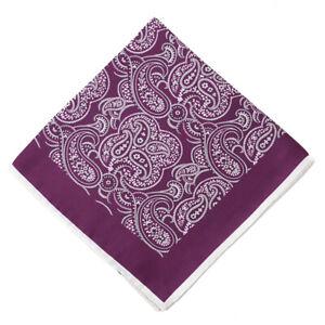 New $215 KITON Plum Purple and White Paisley Print Silk Pocket Square