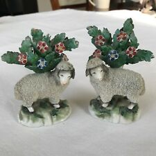 Pair of Staffordshire Pottery Ram Sheep Lamb Figurines