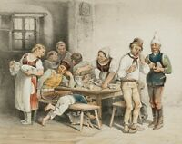 T. HOSEMANN (*1807), Humorist. Darst., Im Wirtshaus, 19. Jhd., kolorierte Litho.
