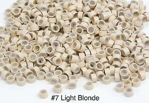 500 Silicone Micro Link Rings 5mm Lined Beads Hair Extensions Tool Light Blonde