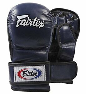 FAIRTEX FGV15 BLUE DOUBLE WRIST CLOSURE MARTIAL ARTS MMA BOXING SPARRING GLOVES