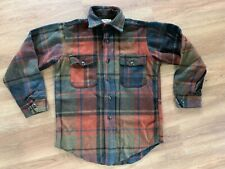 Vintage 1950s 1960s Melton Wool CPO Plaid Shirt Anchor Buttons