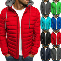 UK Mens Hoodie Padded Coat Jacket Puffer Bubble Winter Warm Coats Zip Up Outwear