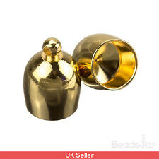 Large Gold Plated Bullet Kumihimo Glue In Cord End Caps 8mm Pack of 2 (D41/31)