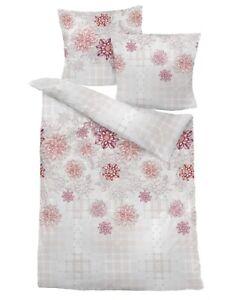 Dormisette Biber Bettwäsche 80x80+135x200cm Blumen beige rose #7366#002