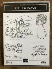 Stampin Up retired, LIGHT & PEACE stamp set ~ Christmas Angel, Shepherds, Star