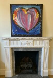 Large Stretched 80cm x 80cm Oil Painting on Canvas Wall Art Blue Heart Love UK