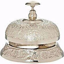 Ornamental Hotel Desk Bell Nickel Finish Garnished with Ornate Markings BNEW