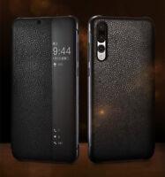 Für Huawei P20 Pro Schutzhülle Retro Echt Leder Smart View Handy Flip Case Cover