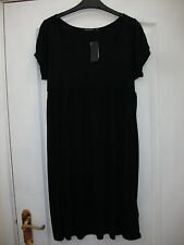 ATMOSPHERE SMART BLACK SHORT SLEEVE KNEE LENGTH JERSEY FLOATY SHIFT TUNIC DRESS