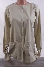 EWC Snap Front Long Sleeve Warm Up Jacket/Scrub Top SWUFDC TA Tan Size Small 41D