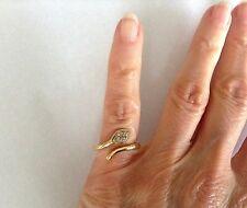 18k Gold Snake Ring w/ 4 Diamonds 4.4grams size 4.5 Delicate