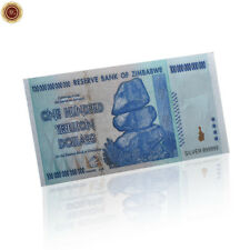 WR Zimbabwe Simbabwe 100 Trillion Billionen Dollar-Banknote 999 Silber Plattiert