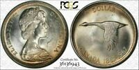 1967 CANADA GOOSE SILVER $1 DOLLAR PCGS MS63 COLOR TONED HIGH GRADE COIN