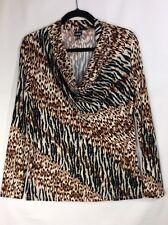 Rafaella Women Top Long Sleeve Blouse Animal Print Black Brown Cream Size Medium