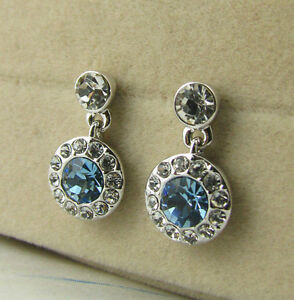 Blue Crystal Dangling Earring/Crystal/White gold/ME022S