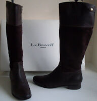 LK BENNETT Brown Leather Suede Knee High Boots Italy Size UK 8 EU 41 US 10.5