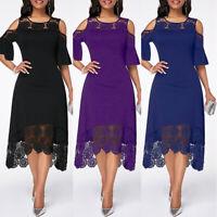 KQ_ Women Lace Dress Ladies Evening Cocktail Formal Party Dresses Plus Size Surp