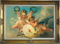 "Hand-painted Old Master-Art Antique Oil Painting angel cupid on canvas 24""X36"""